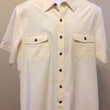 Pussers West Indies Bamboo Blend Mens Button Up Casual Shirt Size XL Solid Beige