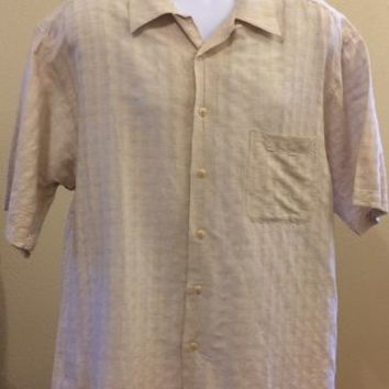 Bugatchi Uomo Men's Short Sleeve Button Down Shirt Off White XL Linen Blend