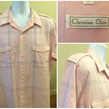 Pale Pink Christian Dior Mens Button Up Short Sleeve Shirt Size XL Cotton Blend