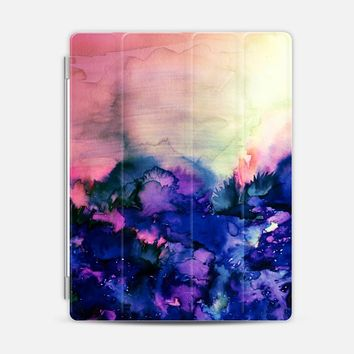 INTO ETERNITY in PINK AND INDIGO BLUE - Colorful Feminine Pretty Abstract Watercolor Floral Field Nature Flowers Girlie Sweet Painting iPad 3/4 case by Ebi Emporium | Casetify