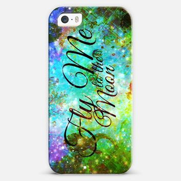 FLY ME TO THE MOON, REVISITED - Bold Space Galaxy Romantic Typography Lyrics Colorful Blue Green Teal Galactic Cosmic Romance Abstract Painting iPhone 5s case by Ebi Emporium | Casetify