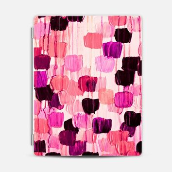DOTTY IN CORAL AND AUBERGINE - Bold Violet Eggplant Plum Purple Pink Magenta Peach Polka Dots Girlie Pattern Abstract Acrylic Painting iPad 3/4 case by Ebi Emporium | Casetify