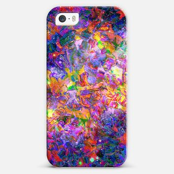 FLORAL NEBULA - Bold Colorful Galaxy Cosmic Abstract Flowers Acrylic Textural Painting Neon Pink Violet Lavender Purple Red Feminine Art Painting iPhone 5s case by Ebi Emporium | Casetify
