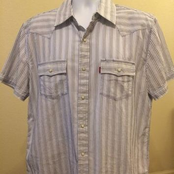 LEVIS TWO HORSE Plaid Pearl Snap Short Sleeve Blue Cowboy Western Shirt Mens L