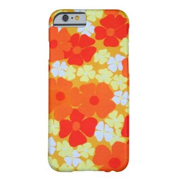 Vintage Retro Orange Floral pattern iPhone 6 case