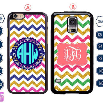 glitter sparkle chevron Monogram iPhone 6 case , iPhone 6 plus case , iPhone 5 case , Samsung galaxy note 3 case , S4 custom Samsung s5 C5