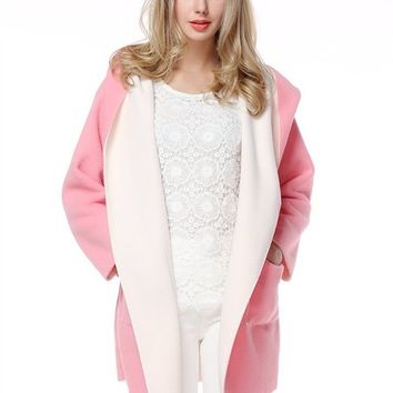 Women's Side Pockets Pink Coat With Hood