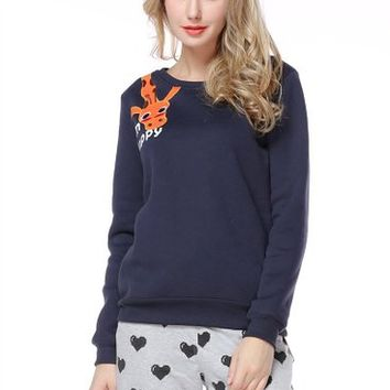 Woman's Giraffe Pattern Round Neck Sweatshirt