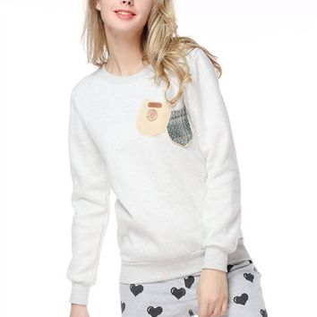 Woman's Round Neck Sweatshirt with Double Pocket Front