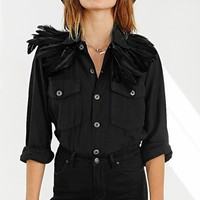 O + S Feather Army Jacket - Urban Outfitters
