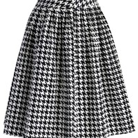 Houndstooth Faux Leather Pleated Skirt Multi