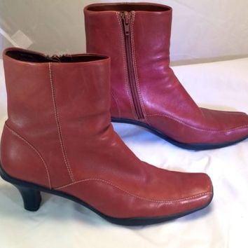 Womens Reaction Kenneth Cole Brown Leather Walkie Talkie Ankle Boots Heel Size 7