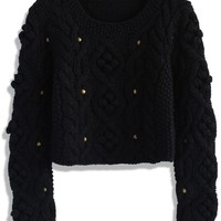 Retro Cozy Up Woolen Sweater in Black Black S/M