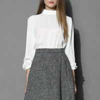 Ruffle Trimmed Crepe Top in White White S/M