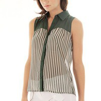 GREEN BUTTON DOWN SHEER TOP @ KiwiLook fashion