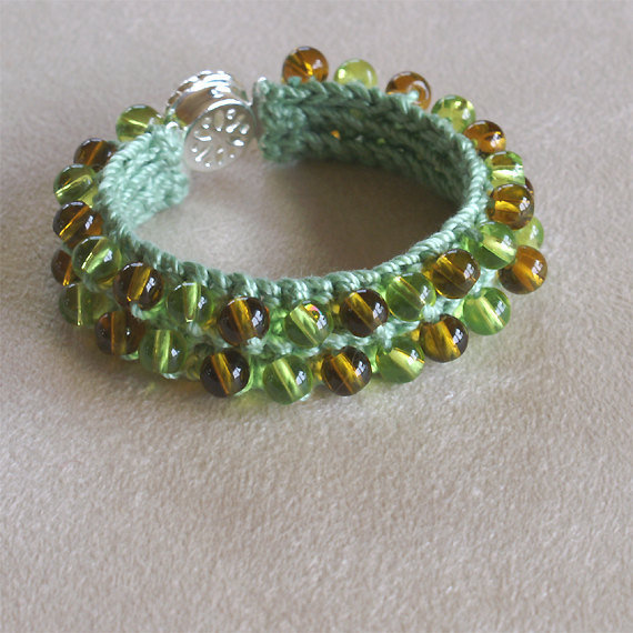 Green Thread Crochet Bracelet with Czech Glass