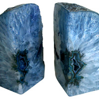 Blue Geode Crystal Bookends