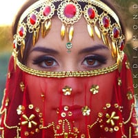 Ruby Red Gold Jeweled Gypsy Crown - Red