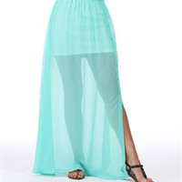 Mint Button Down Maxi Skirt