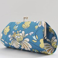 Spanish Petals in Blue..Medium Clutch Purse