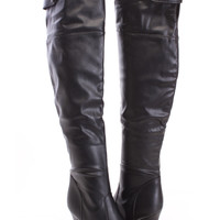 Black Thigh High Boots Faux Leather