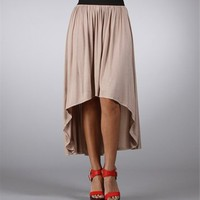 Taupe Elastic Waistband Hi Low Skirt