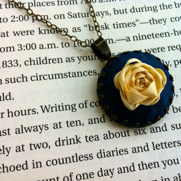 Blue and Cream Embroidered Rose Pendant Necklace - Silk Ribbon Embroidery by BeanTown Embroidery