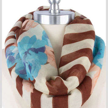 Floral Infinity Scarf Blue Scarf  Brown Scarfft Lightweight Scarf Women Gifts for Her For Mom - By PiYOYO