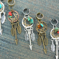 PICK an arrow dreamcatcher ear cuff turquoise coral amber native americaninspired tribal boho belly dancer tribal fusion and hipster style