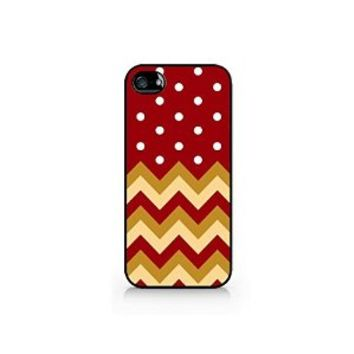 Chevron And Polka Dot Mixed Pattern - Christmas Themed Pattern - iPhone 4/4S Black Case (C) Andre Gift Shop