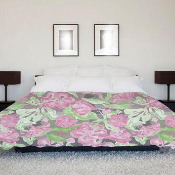 Pink floral duvet cover, green foliage decorative flower full queen or king size, childrens bedroom furnishing decor, surface pattern design