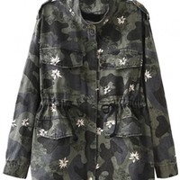 Chic Drawstring Camouflage Military Jacket - OASAP.com