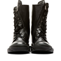Black Angled Zip Leather Boots42538M050001