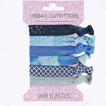 Stud Hair Elastics in Blue - Urban Outfitters