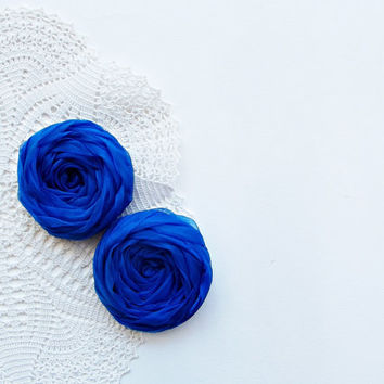 Royal Blue Fabric Roses Handmade Appliques Embellishment Set of 2