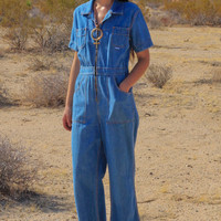 70s Wide Leg Denim Jumpsuit Romper
