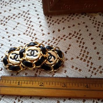 CHANEL XL AUTHENTIC Coat Button Leather Metal