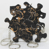 Friendship Set of 5 Best Friend Key chains Good friends are like stars Black with Gold floral stamping
