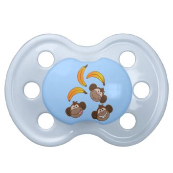 Monkeys and bananas baby pacifiers