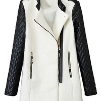 Contrast Pu Quilted Sleeve Wool Coat with Asymmetric Zip - Choies.com