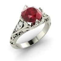 Ruby & Diamond Ring in 14k White Gold | 2.32 ct. tw. | Round Cut | Tangerina | Diamondere