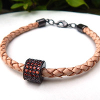 Braided Bolo Leather Bracelet with CZ Micro Pave