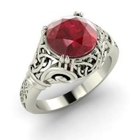 Ruby Ring in 14k White Gold | 2.2 ct. tw. | Round Cut | Lyndsayclark | Diamondere