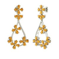 Citrine Earrings in 14k White Gold | 7.85 ct. tw. | Pear Cut | Eve | Diamondere