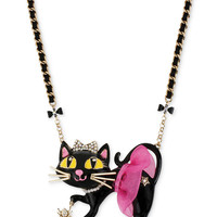 Betsey Johnson Antique Gold-Tone Tutu Cat Pendant Necklace