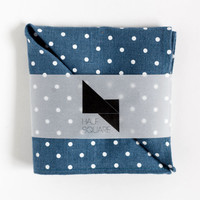 Pocket square blue with white polka dots - unisex fashion accessory