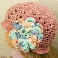 3Crocheted  Rose Hat with Flower-Cotton-Baby Shower Gift-Newborn to 5T--#245