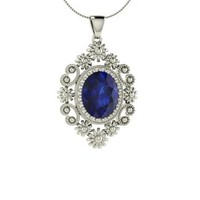 Sapphire Necklace in 18k White Gold | 2.77 ct. tw. | Oval Cut | Unique Pendant | Mirna | Diamondere