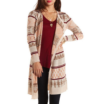 Geometric Print Duster Cardigan by Charlotte Russe - Taupe Combo