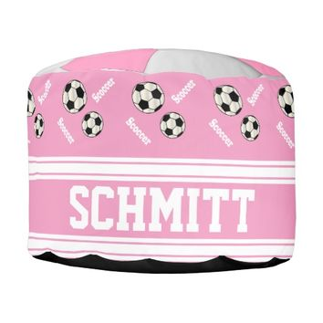 Soccer Pink, White and Black Sport Pattern
